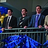 Thomas Ian Nicholas as Kevin, Jason Biggs as Jim, Seann William Scott as Stifler, Chris Klein as Oz, and Eddie Kaye Thomas as Finch in American Reunion.  Photo courtesy of Universal Pictures