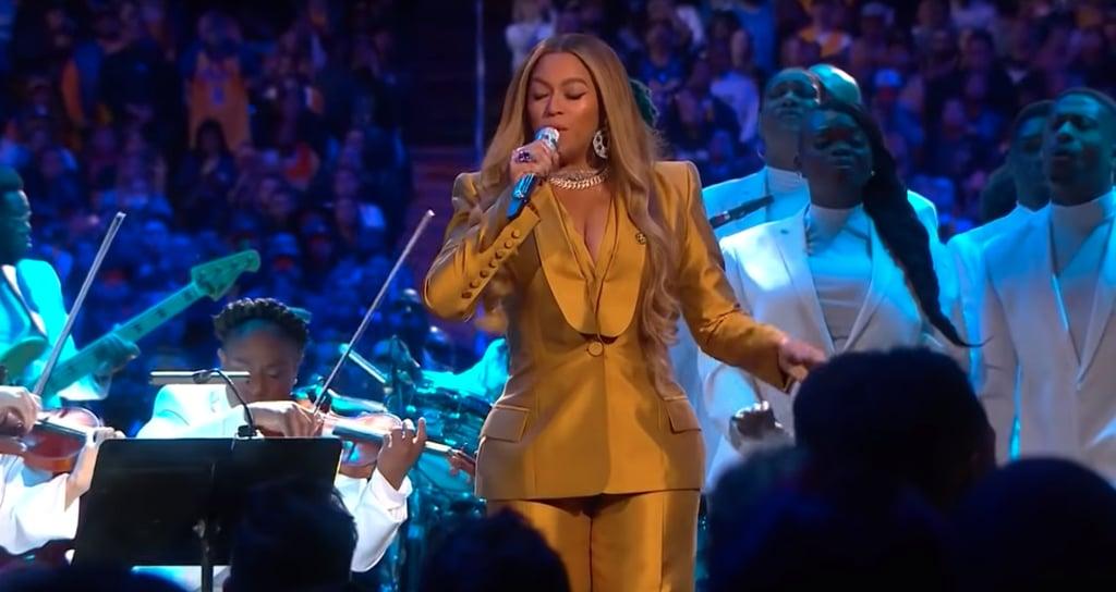 Beyoncé Knowles's Honey-Yellow Suit at the Kobe and Gigi Bryant Memorial
