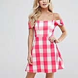 Asos Off Shoulder Shift Dress In Pink Gingham