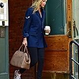 Channel Gigi and dress down a blazer with leggings and fresh kicks.
