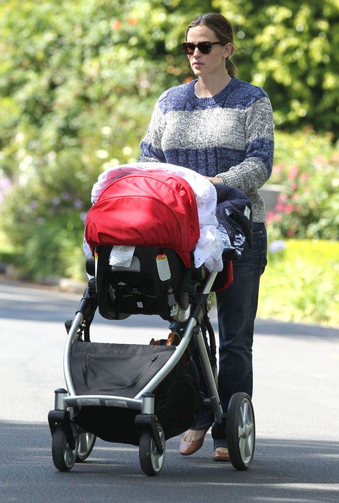 Jennifer Garner pushed baby Samuel in his stroller.