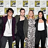 Pictured: Christopher Larkin, Bob Morley, Richard Harmon, Eliza Taylor, Marie Avgeropoulos, and Lindsey Morgan.
