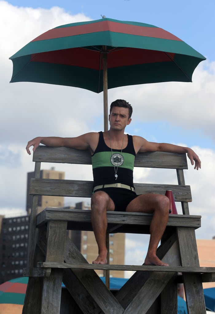 """Justin Timberlake looked tan and toned on the set of a new Woody Allen film in The Rockaways, NY, on Friday. The """"Can't Stop the Feeling"""" singer managed to make his old-timey bathing costume look incredibly sexy; Justin is reportedly playing a lifeguard in the 1950s-era drama, which is also set to star Kate Winslet and Juno Temple. Justin made headlines earlier this week when he was made aware of comments made by his ex-girlfriend Britney Spears. After Britney expressed interest in a musical collaboration with him, Justin admitted to not having heard the news but responded emphatically, saying, """"Sure! Absolutely, absolutely,"""" and adding """"I'm accessible, give us a call!"""" Needless to say, it sent us into complete panic mode and we """"absolutely"""" need this to happen ASAP."""