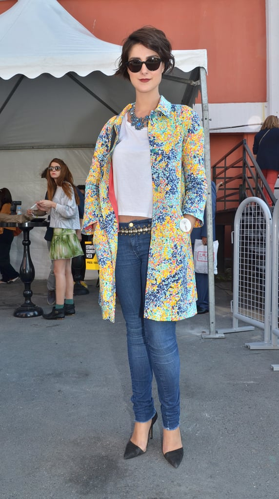 Perk up denim and a white tee with an all-over floral-print coat — the effect is pretty, and would feel even more seasonal with a navy or dark-hued knit layered up underneath.