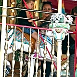 Honor and Jessica rode the merry-go-round.