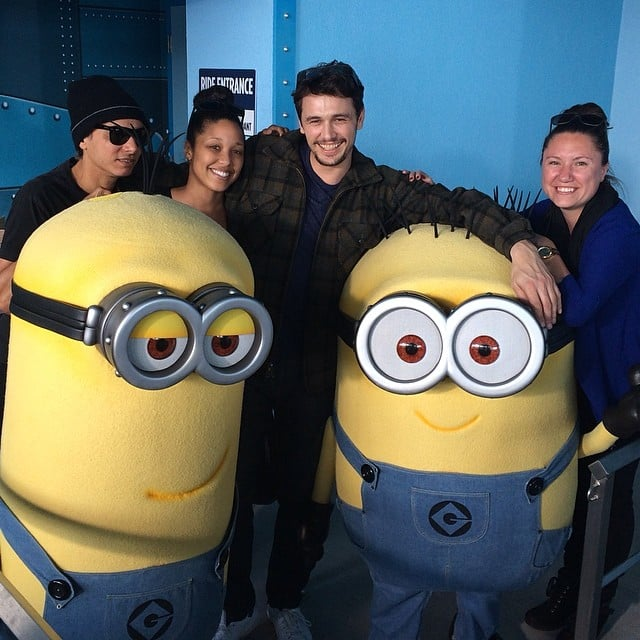 """""""Chillin with the minions,"""" James Franco wrote of the Despicable Me fan favorites. Too cute. Source: Instagram user jamesfrancotv"""