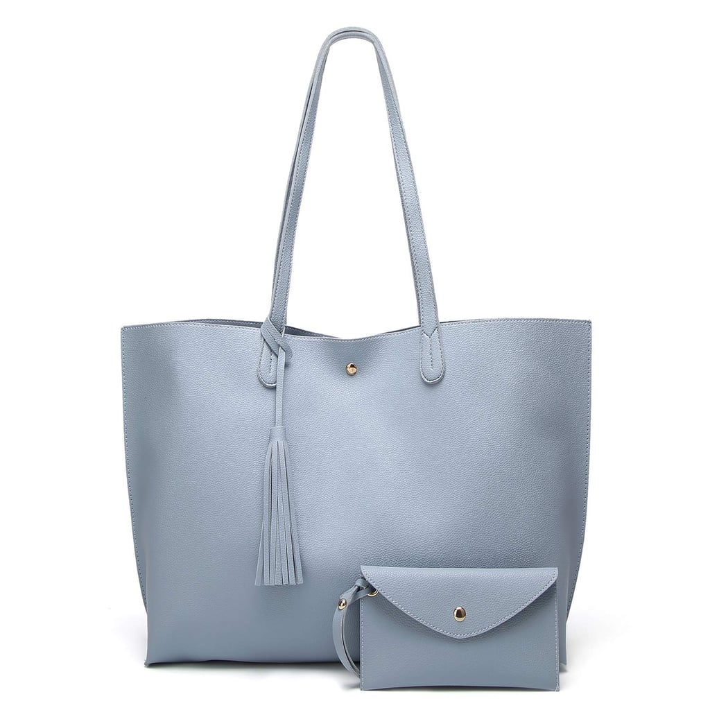 SIFINI Women Tote Bag Tassels Faux Leather Bags