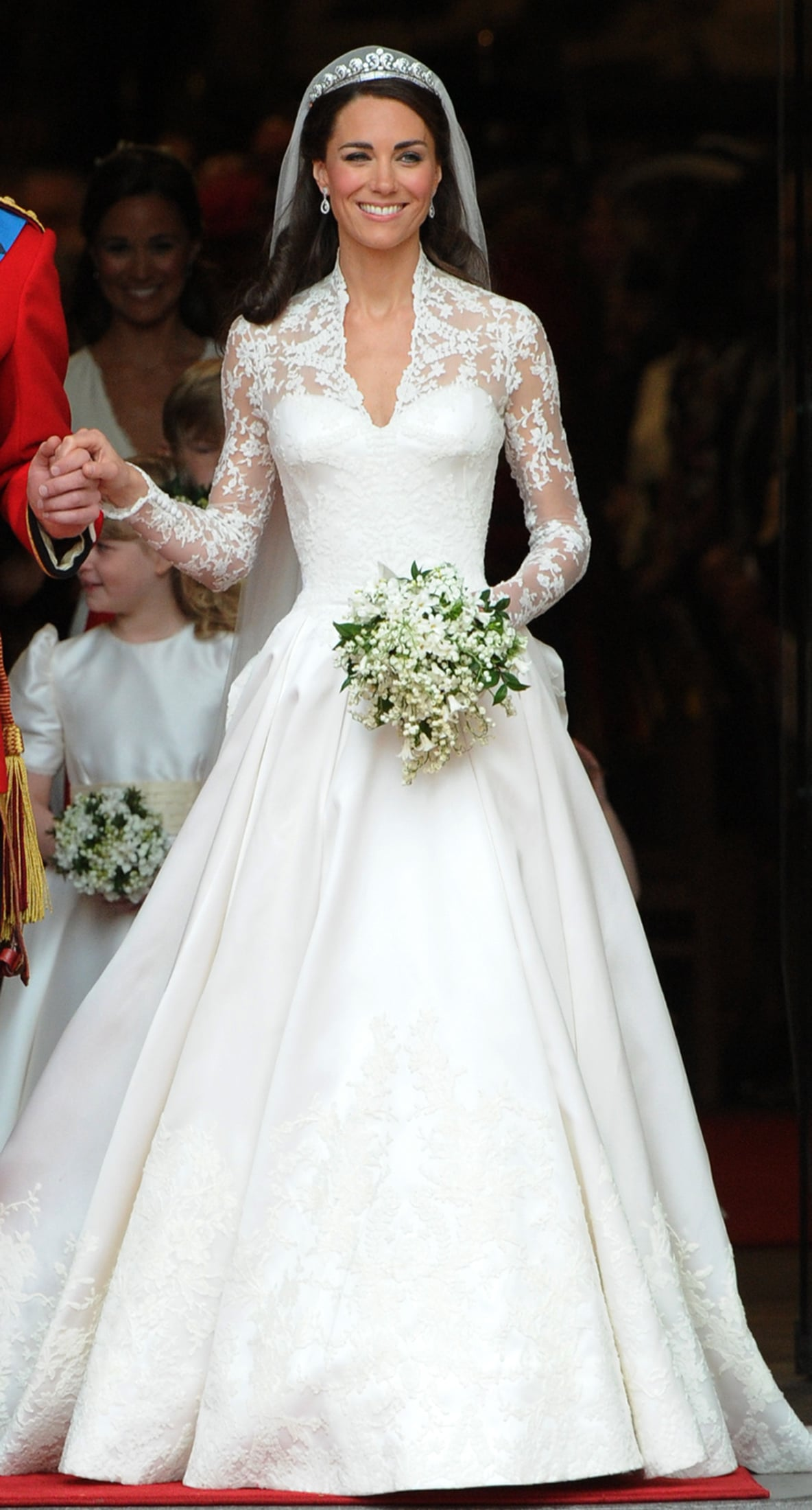 Both Dresses Featured Elegant Lace Sleeves A Sweetheart Neckline And A Long Train It S Hard To Miss Who Kate Middleton S Stylist Channeled On Her Wedding Day Popsugar Fashion Photo 7,Destination Wedding Flower Girl Dress