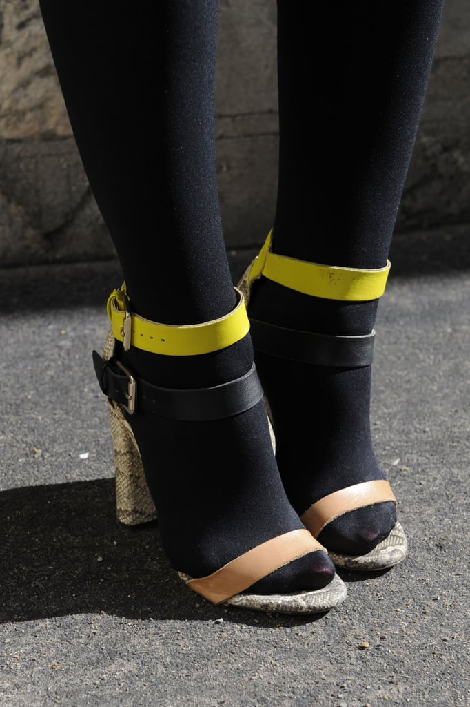 Punch neoprene accents on these heels were even more striking against black tights.