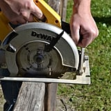 Using a circular saw (or a hand saw), cut the ladders at the length you want them for the chandelier.