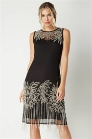 Roman Originals Black Embellished Flapper Dress
