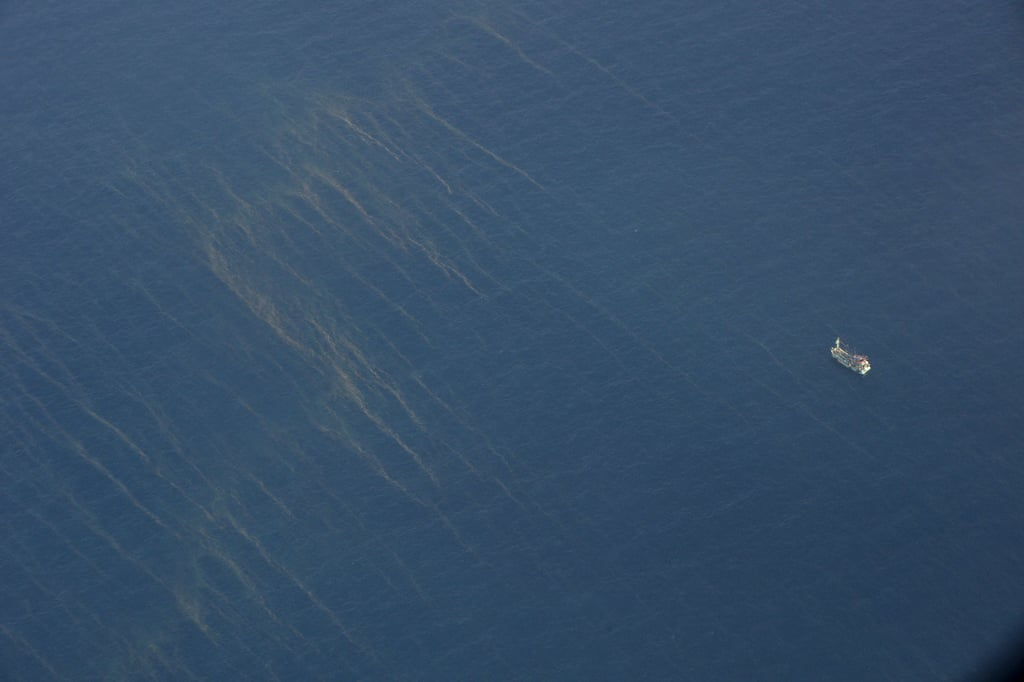 Large oil spills could be spotted from a search plane on Sunday.