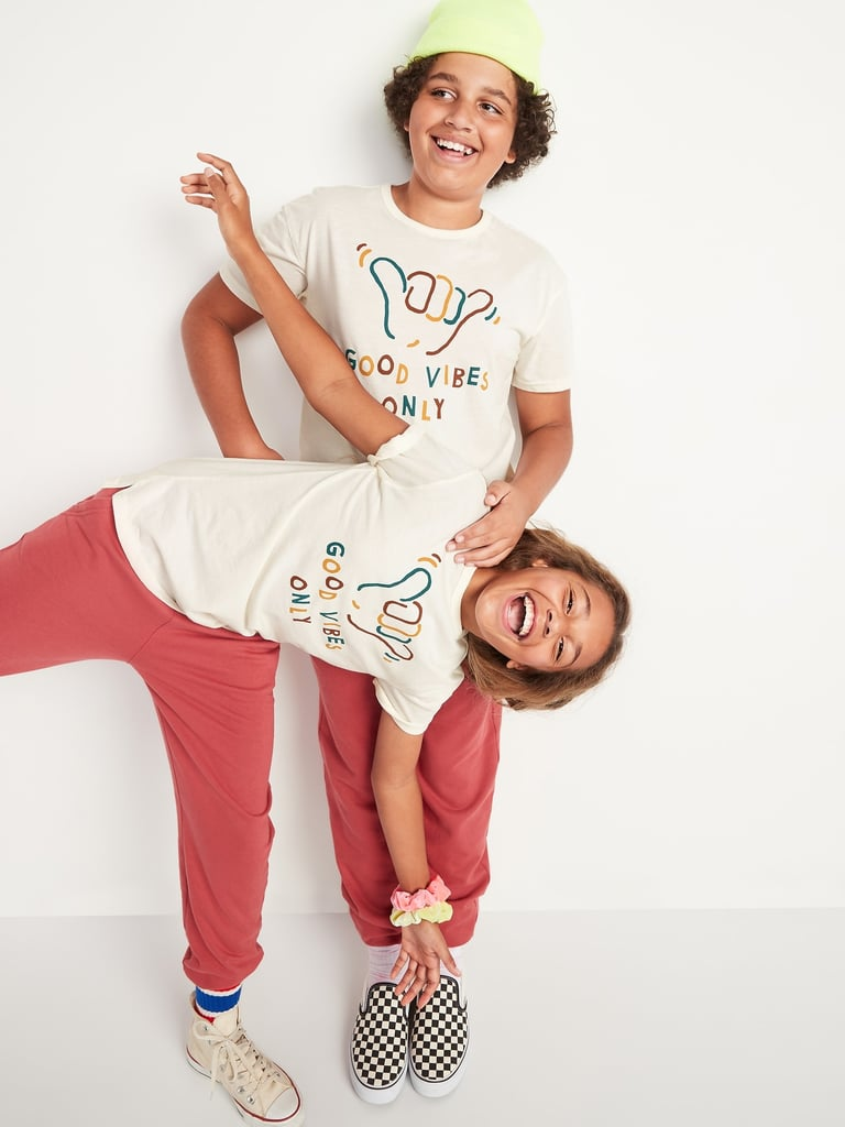 """Gender-Neutral """"Good Vibes Only"""" Graphic Short-Sleeve Tee For Kids"""