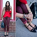 Autumnal hues are rich on their own, but you can still add lighter elements into the mix. Try fun flats, bright jewelry accents, and a colourful handbag.  Photo courtesy of Lookbook.nu