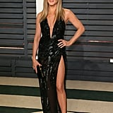 For the 2017 Vanity Fair Oscars Party, Jennifer wore a daring Versace gown with a plunging neckline and thigh-high slit. She finished her look off with ankle-strap heels — oh, and over $10 million worth of diamonds from Lorraine Schwartz.