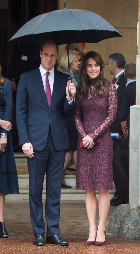 He Complemented Her Plum Dress and Cranberry Accessories With His Tie