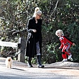 Gwen Stefani walked the dog while Zuma played along beside them.