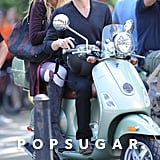 Blake Lively and Penn Badgley sat on a Vespa in NYC.
