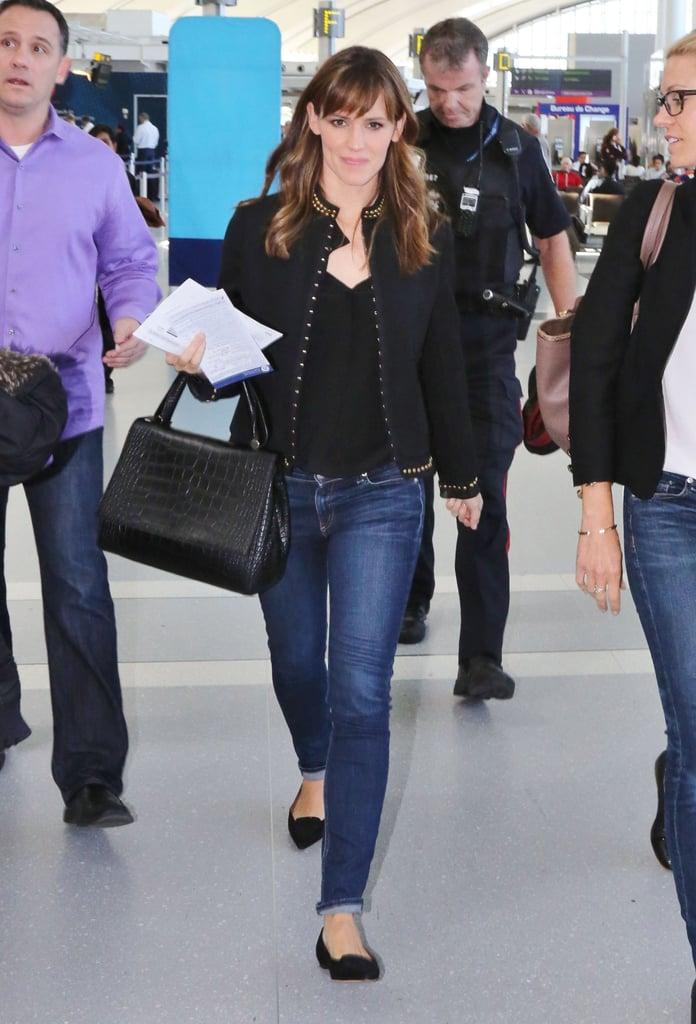 Jennifer Garner's studded jacket totally amped up her denim in Toronto.