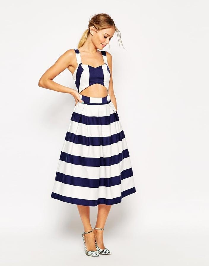 ASOS Stripe Cut Out Midi Dress ($108)