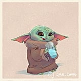 Baby Yoda Drinking Blue Milk