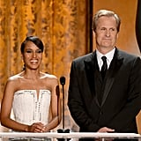 Jeff Daniels and Kerry Washington smiled on stage at the SAG Awards.
