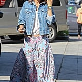 Bohemian queen Alessandra Ambrosio wore a printed skirt while running errands, but we can just as easily see the piece at Coachella.