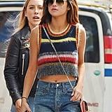 Selena Gomez Wears Alexa Chung Rainbow Top