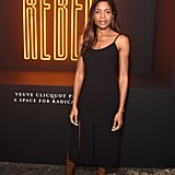 Making a classic black slip dress look fresh and fashion-forward, Naomie attended a Veuve Clicquot event in London in November.