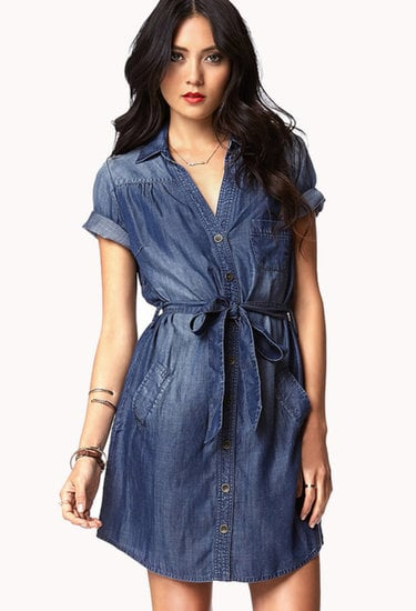 A superflattering way to wear denim, this Forever 21 chambray shirtdress ($33) shows off your waist.