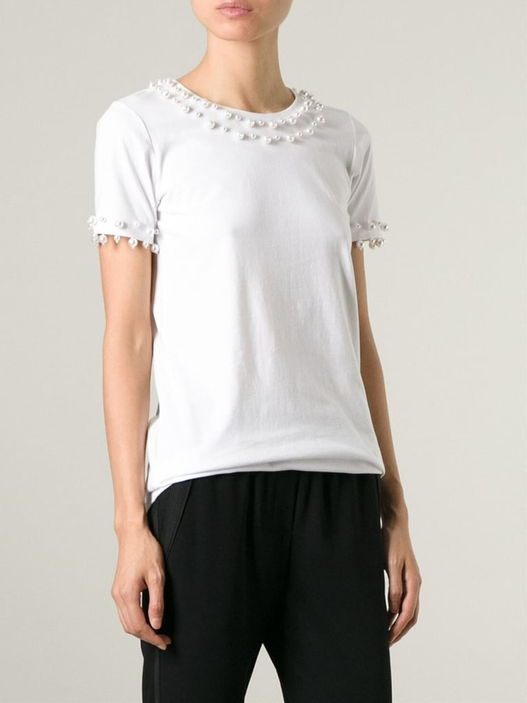 DKNY Pearl-Embellished Cotton T-Shirt