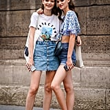 In Summer, what's easier than a denim miniskirt, t-shirt, and sneakers?
