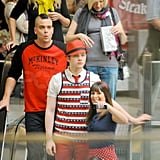 Pictures of Lea Michele, Chris Colfer, and Mark Salling Filming Glee at an LA Mall
