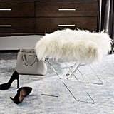 Safavieh Home Collection Keely Clear and White Sheepskin X-Bench Ottoman