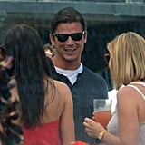Josh Hartnett had a laugh at Joel Silver's Memorial Day party in LA.