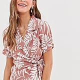 ASOS Design Hawaiian Print Linen Wrap Top