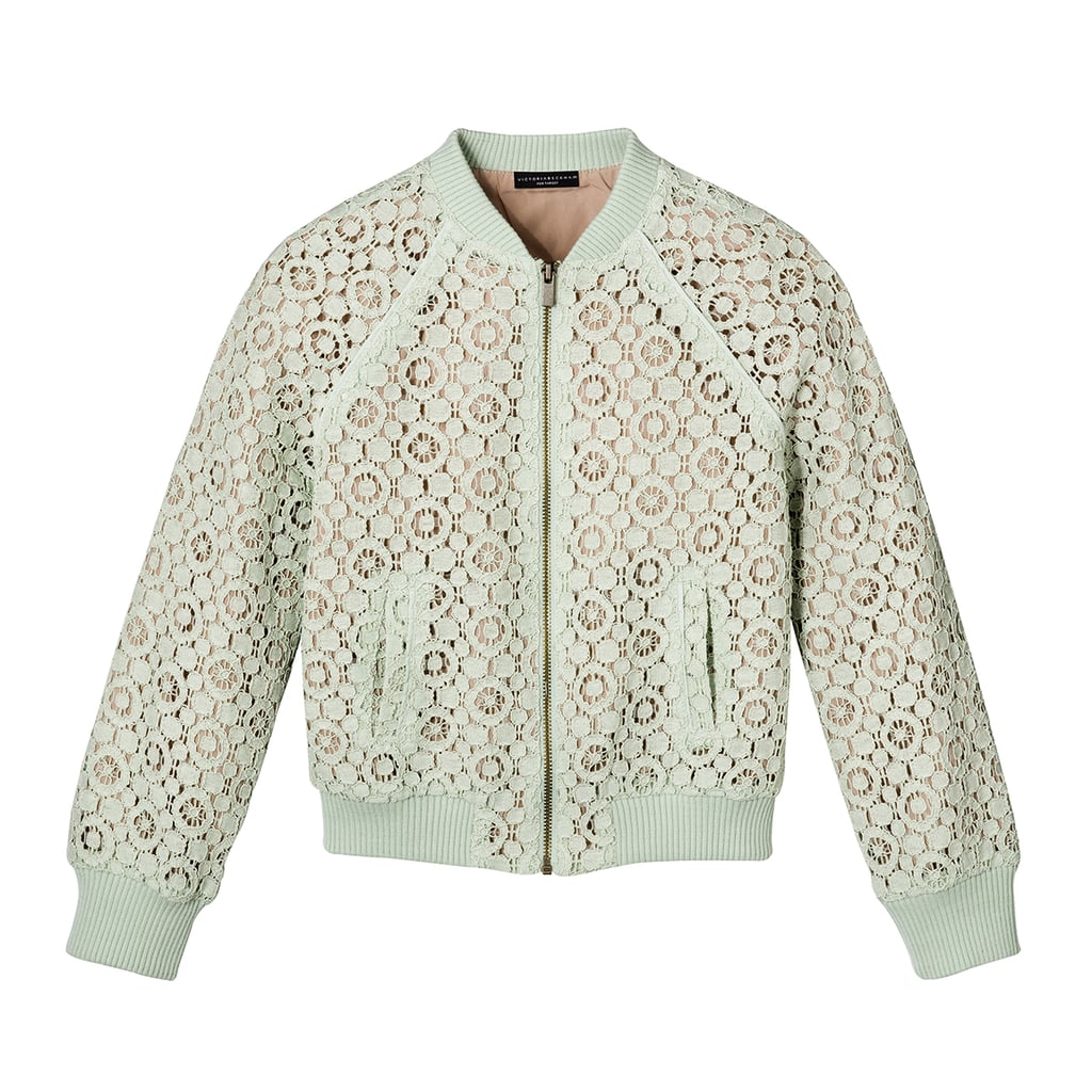 Girls' Mint Green Lace Bomber Jacket  ($25)