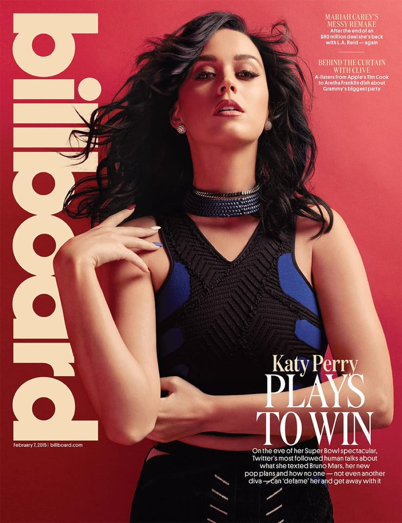 Billboard highlighted Katy's Super Bowl halftime show performance in a February 2015 feature, complete with a stunning cover.