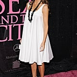 Melania's tunic-style dress was coordinated with black and white striped zebra pumps and a long necklace for the New York premiere of Sex and the City in 2008.
