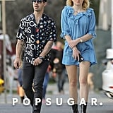 Sophie Turner Wearing a Blue Dress and Combat Boots With Joe Jonas