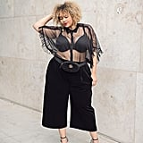 Pair a Sheer Blouse With Culottes, a Fanny Pack, and Pumps
