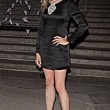 Mira Sorvino showed off her legs in a black minidress.