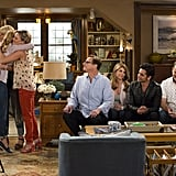 Group hug, plus the men (John Stamos, Bob Saget, Dave Coulier) — and woman (Lori Loughlin) — who raised them.