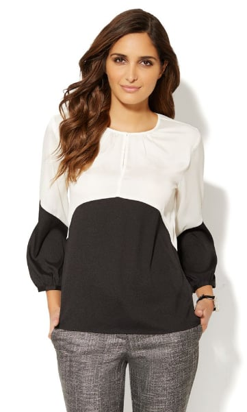 This New York Company Colorblock Shirred Blouse 40 Would