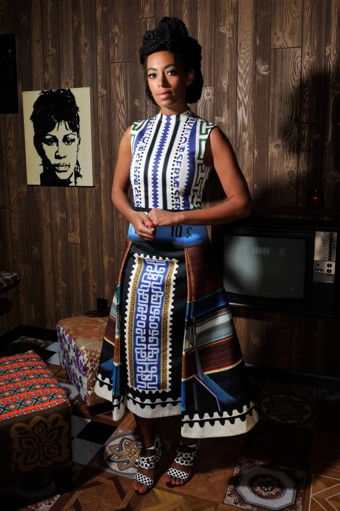 During the 2012 Art Basel festival in Switzerland, Solange embraced her love for noteworthy prints in a Mary Katrantzou mididress and geometric-print Sophia Webster sandals.