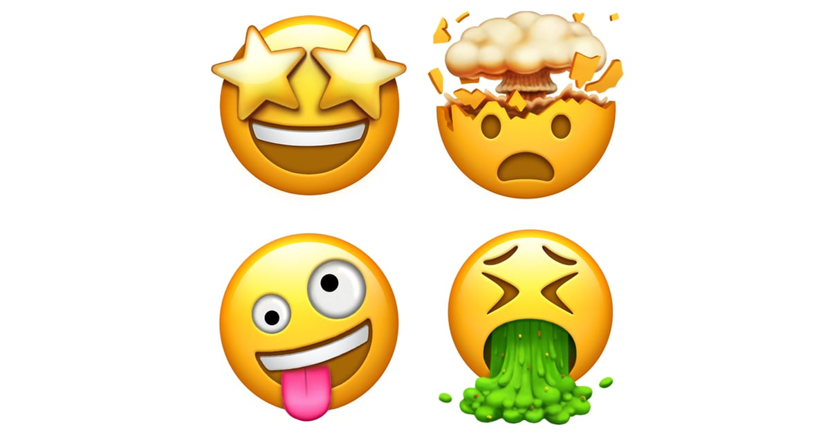 These emoji are star-struck, exploding head, crazy face ...
