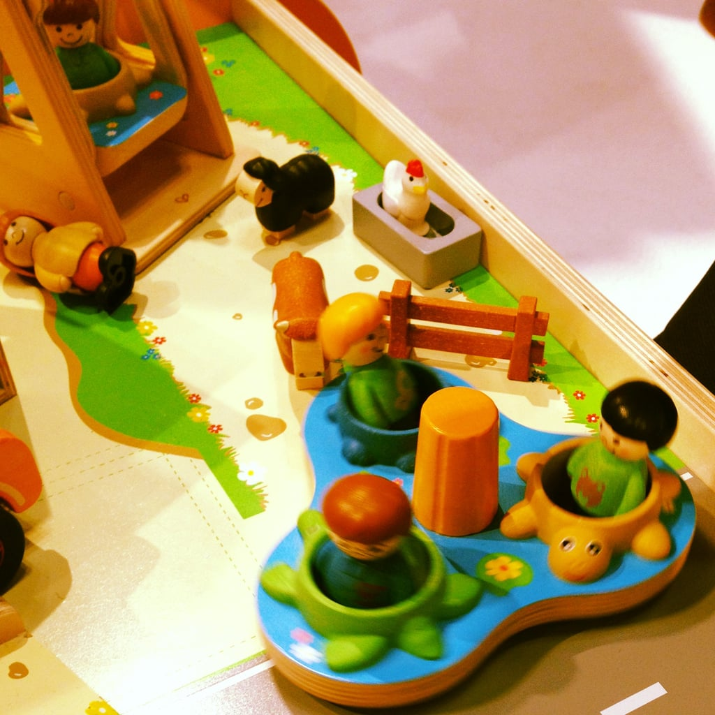 We loved Hape's wooden school-yard toys.