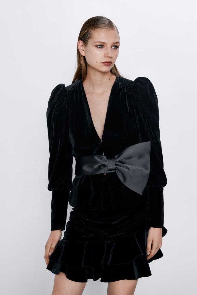 Zara Velvet Bow Jacket + Miniskirt