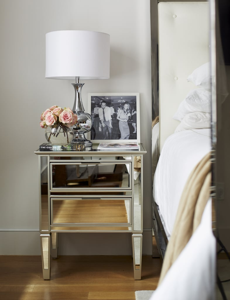"Arielle says her biggest challenge was, ""knowing what I wanted the rooms to look like but also balancing practicality and functionality."" She seems to have found the perfect mix in the bedroom, where the eye-candy nightstand boasts ample storage space."