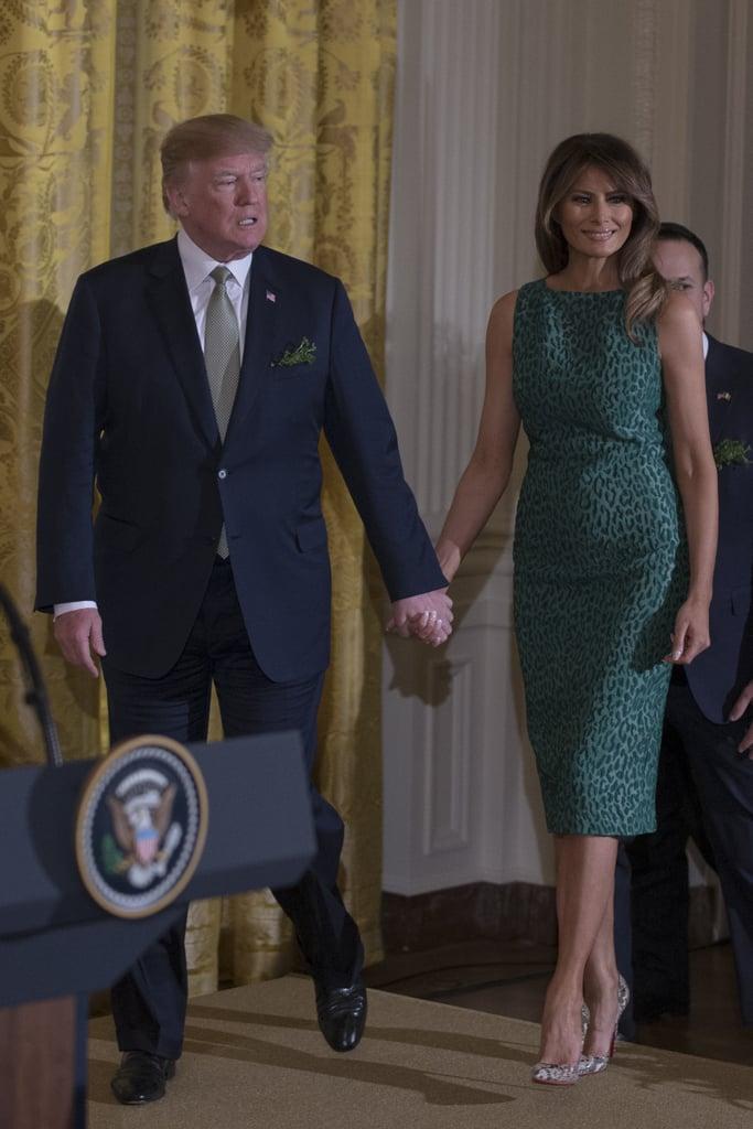 Melania Trump Green Leopard Print Dress